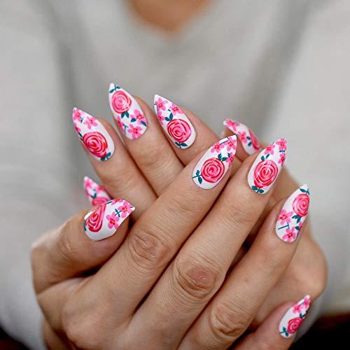 TJJF Blanc Rose Fleur Moyen Faux Ongles Rose Pleine Couverture Bouts Ongles Pointus Stiletto Unique Ongles Pré-Conçus 24 Pièces