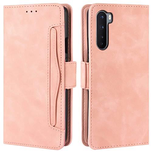 HualuBro Handyhülle für OnePlus Nord Hülle Leder, Flip Hülle Cover Stoßfest Klapphülle Handytasche Schutzhülle für OnePlus Nord 5G Tasche (Pink)