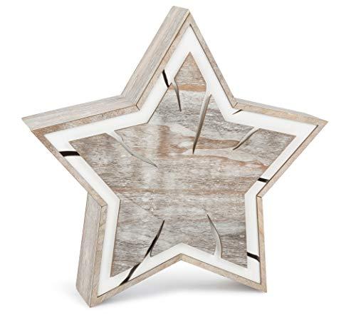 Kleine voet lichtster boomschijven hout, in trendy shabby-chic-design, met verschillende houtsnijdingen in bruin en wit, kerstdecoratie met verlichting op batterijen, decoratief artikel