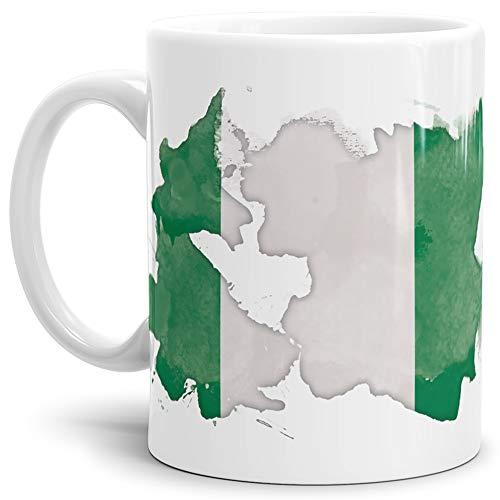 Tassendruck Flaggen-Tasse Nigeria Weiss - Fahne/Länderfarbe/Wasserfarbe/Aquarell/Cup/Tor/Qualität Made in Germany