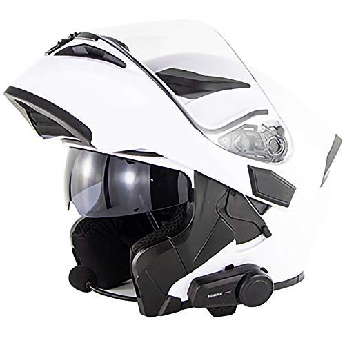 Bluetooth Integrado Modular Casco,Lente Doble Micrófono Incorporado Certificación ECE Apto para Motocicletas Bluetooth Integrado Casco F,XL59~60CM