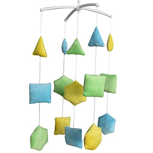 Panda Legends Hecho a Mano Amarillo Verde Azul Figura geométrica de Felpa Cuna de bebé Mobile Nursery Room Decor Musical Mobile Cuna de Juguete para niñas niños