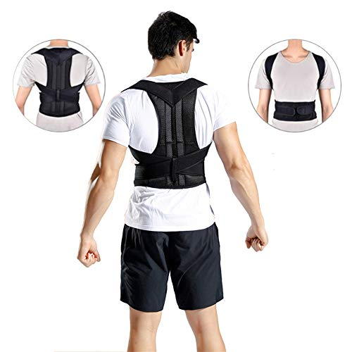 Geradehalter zur Haltungskorrektur, Geradehalter zur Haltungskorrektur für eine aufrechte Körperhaltung - Rückenbandage für Damen und Herren - Haltungsbedingte Rücken- und Nackenschmerzen,Schwarz,XXXL