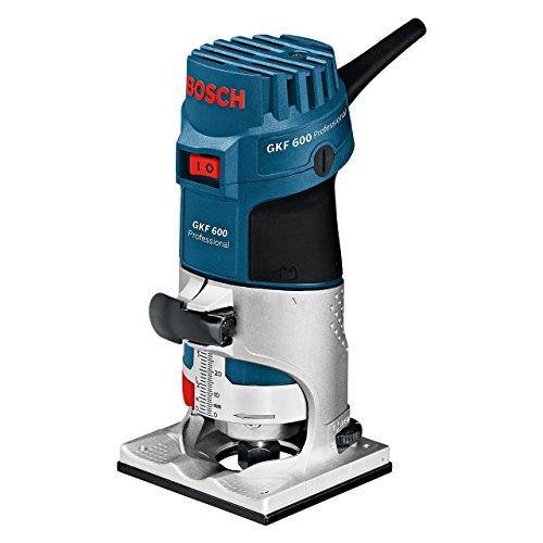 Bosch Professional GKF 600 - Fresadora de Canto, 600 W, Velocidad de Giro en Vacío 33000 min-1, Portaherramientas 6 mm/ 8 mm, Guía Auxiliar, L-BOXX, Negro/Azul/Acero Inoxidable