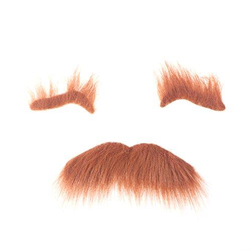Trajes de Halloween de tres piezas autoadhesivos, cejas falsas para barba, bigote de pelo facial, accesorios de cosplay para disfraz, decoración para fiestas de disfraces (marrón) para regalos