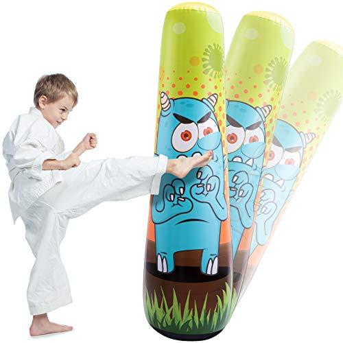 LEOHOME Aufblasbarer Boxsack für Kinder, 150cm Standboxsäcke Bounce Back Monster Boxspielzeug zum Üben von Karate, Taekwondo, MMA und zur Energieentlastung bei Kindern im Alter von 3-12 Jahren