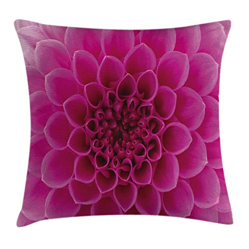 Ambesonne Floral Throw Pillow Cushion Cover, Close-Up Flower Petals Florets Nature Beauty Fragrance Botany Bloom Fresh Picture Print, Decorative Square Accent Pillow Case, 24' X 24', Magenta