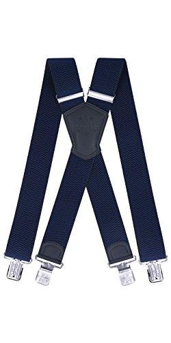 Ranger Hosenträger für Männer X Form, 5 cm breit, 130 lang, regulierbare und elastische Hosenträger mit sehr starken Klipps - robust Dx50 (marineblau 1)