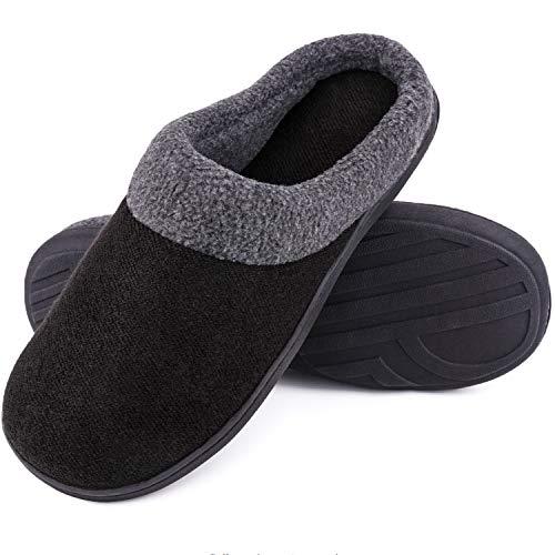 SoftPeds Herren Komfort Wollstoff Anti-Rutsch Hausschuhe, Atmungsaktive Memory Foam Pantoffeln (40/41 EU, Hellschwarz)