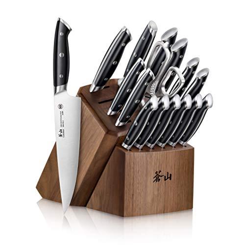 Cangshan Z Series 1024180 German Steel Forged 17-Piece Knife Block Set, Walnut