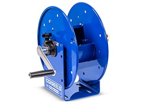 """Coxreels 112-3-50 Compact Hand Crank Steel Hose Reel - 4,000 PSI - Holds 3/8"""" x 50' Length Hose - Perfect for Air Compressor, Garden, Pressure Washer, Electric Hoses (Hose Not Included) Made in USA"""