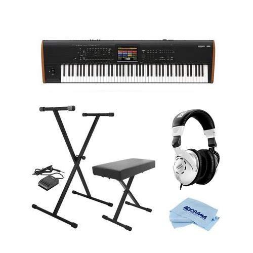 Korg Kronos 88 Key Music Workstation with SGX-2 Engine, Kronos System Version 3.0 Bundle with On-Stage KPK6520 Keyboard Stand/Bench Pack with Sustain Pedal, Behringer HPS3000 Studio Headphones, Cloth