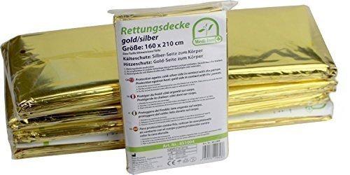 10 Stück Rettungsdecken GOLD-SILBER Rettungsfolie  Medi-Inn 56 g Rettungsdecke 160 x 210 cm
