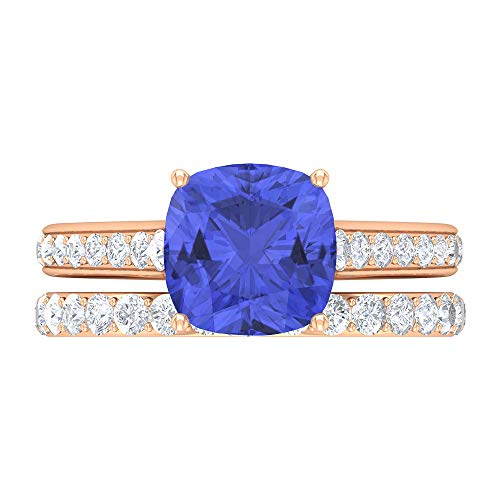 Juego de anillos de solitario para novia, piedra preciosa de 3,38 quilates, D-VSSI Moissanite 8,5 mm tanzanita corte cojín anillo, anillo de compromiso catedral, 18K Oro rosa, Size:EU 44