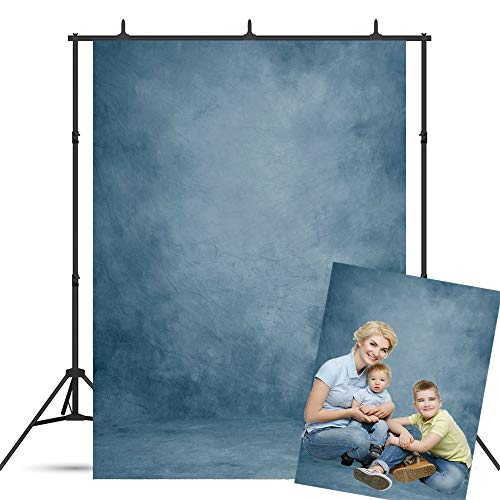 BoTong 5x7ft Abstract Blue Vinyl Portrait Backdrop Solid Color Photography Background Baby Headshots Photocall Adult Child Travel Family Newborns Party Decoration Studio Props