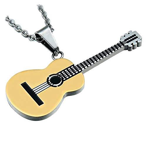 BOBIJOO JEWELRY - Anhänger-Gitarre, Klassische Trocken-Akustik-5cm Reisenden Stahl 316L + Kette - Gold Edelstahl