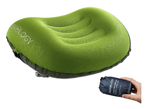 TREKOLOGY Aluft 2.0 Ultralight aufblasbares Reise Camping Kissen, komprimierbar, kompakt, aufblasbar, Komfortables, ergonomisches Kissen für Nacken & Lumbalstütze
