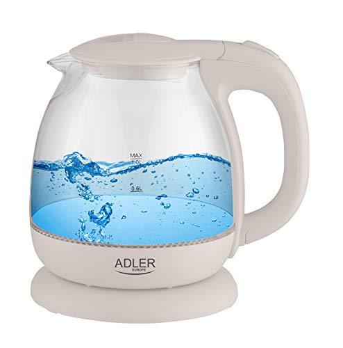 adler AD 1238 Hervidor de Agua Eléctrico de Cristal, Pequeño, 1L, 1100W,...