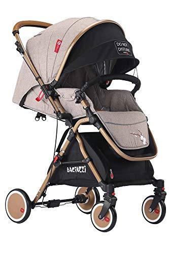 Baciuzzi, passeggino pieghevole con seduta alta e manico reversibile per seduta fronte mamma, completo di accessori e borsa coordinata, Verso Coupè, Almond Sand