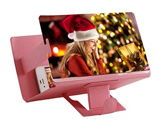 Universal tragbarer Falten Smartphone 3D Screen Magnifier für alle Smartphone Arten. Smartphone Bildschirm Vergrößerungslupe mit 3D Effekt. PINK