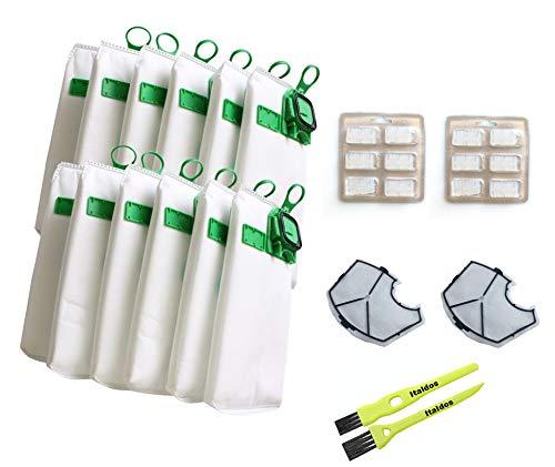 Italdos Kit de Bolsa Aspiradora Compatible para Vorwerk Kobold VK140 VK150 con Filtro HEPA de Repuesto - 12 Bolsas + 2 Filtros de Motor + 12 Parafumes + 2 Cepillos de Limpieza