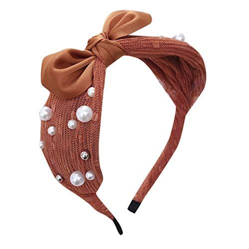 ZXCTD Femmes Perles Vintage Twisted Faux Noué Large Cerceau Velours Bandeau Hairband Accessoires De Cheveux (Color : D)