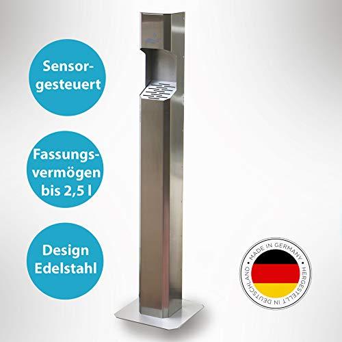 Desinfektionssäule sensorgesteuert, Hygienestation aus Edelstahl mit Standfuß, bis 3l Füllmenge