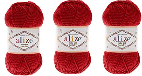 Alize Cotton Gold Hobby Garn, 55 % Baumwolle, 45 % Acryl, 3 Knäuel, 150 g 56 rot