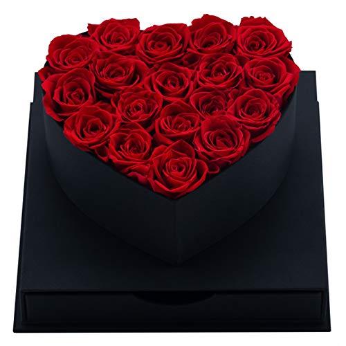 MadameRose edle Rosenbox Herz Geschenkbox schwarz mit 18 konservierten Rosen Farbe Rot