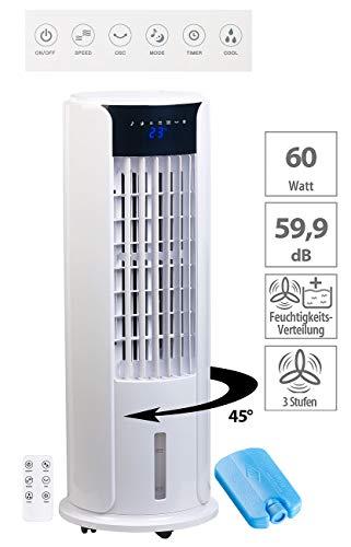 Sichler Haushaltsgeräte Klimagerät mobil: 3in1-Luftkühler, Turmventilator und Luftbefeuchter, 60 Watt, 3-l-Tank (Ventilator mit Kühlung)