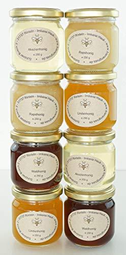 Naturhonig Geschenkset Probierset 8 x 250g Bienengruss Geschenkidee natürliches Honig-Set Raps, Linden, Akazien, Waldhonig