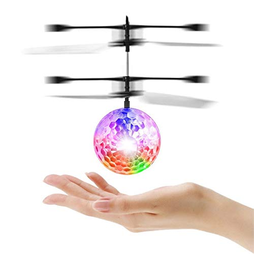 Niños que vuelan los juguetes, bola que vuela, RC bola de helicóptero de inducción infrarroja con LED de color brillante incorporado (transparente)