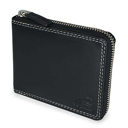 Fa.Volmer Echtleder Geldbörse - Rindsleder - schwarz - Geldbörse mit Reißverschluss - RFID-Schutz - Geldbörse mit Münzfach - Herren Ledergeldbörse