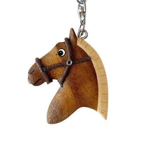 JA Horse – Llavero de madera con caballo caballo caballo pony equitación animal hecho a mano Marrón Cabeza de caballo marrón grande. 10 cm
