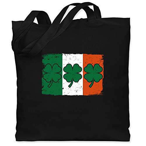 St. Patricks Day - Irische Flagge mit Kleeblättern - Unisize - Schwarz - Flagge - WM101 - Stoffbeutel aus Baumwolle Jutebeutel lange Henkel