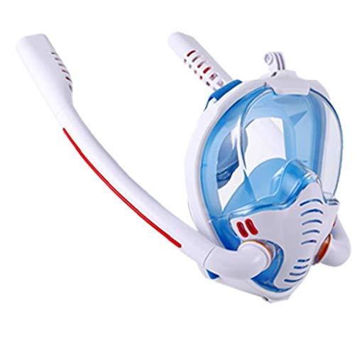 Tubo De Snorkel Duradera Careta De Rostro Completo Doble Buceo Silicón De La Cara Cubierta Anti-vaho Y Anti-Fugas Tamaño Blanco Azul S M