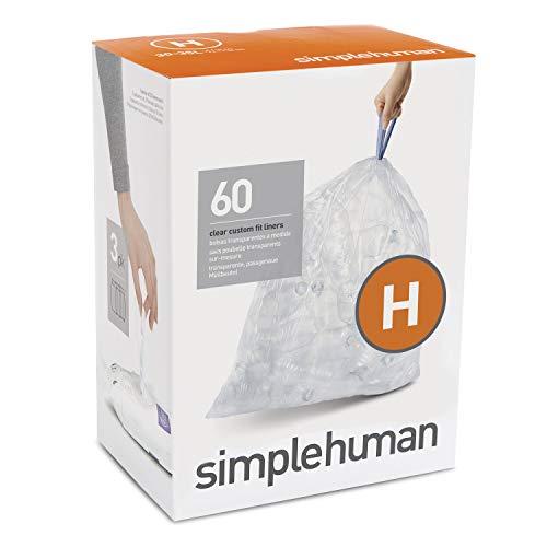 simplehuman CW0286 code H Custom Fit Bin Liner Bulk Pack, Clear Plastic (3 Pack of 20, Total 60 Liners)