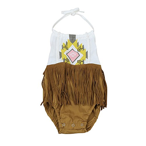 Honestyi BabyBekleidung Baby Mädchen Strampler Kinder Kleinkind Säugling Ärmelloses Fransen Bedruckte Romper Neckholder Rückenfrei Bodysuit Overall Outfit (Braun, 80)
