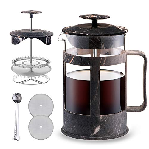 French Press Coffee Maker 27oz Durable Coffee Press with Wood Grain and 2 Extra Screens Easy to Clean Heat Resistant Borosilicate Glass 100 BPA Free Dark Grey