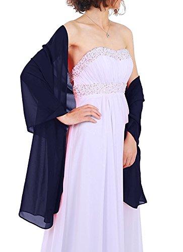 Dressystar Chiffon Stola Schal für Kleider in verschiedenen Farben Marineblau 160cm*50cm