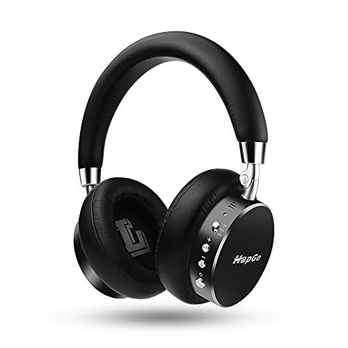Active Noise Cancelling Headphones Bluetooth,HapGo Headphones with Mic Deep Bass Wireless All Metal Headphones Over Ear, Comfortable Protein Earpads, 30H Playtime for Travel Work TV PC (Black)