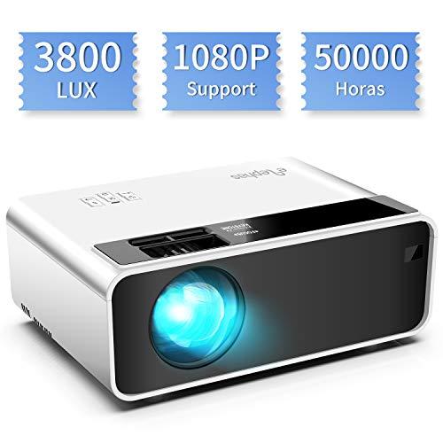 Mini proyector, ELEPHAS Video Proyector 3800 Lux Proyector de Cine en casa portátil LED de Larga duración 1080P Compatible, Compatible con PS4, PC a través de HDMI, VGA, TF, AV y USB Black (White)