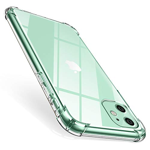 ivencase Funda Compatible con iPhone 11, Carcasa Transparente Protectora Reforzado Cojín Esquina Parachoques Case Flexible TPU Suave Anti-Choque Ultra-Delgado Funda Compatible con iPhone 11 2019 6.1""