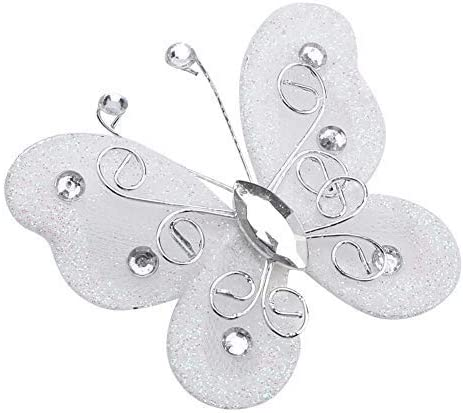 24pcs Christmas Butterfly Ornaments Mesh Wire Glitter Butterfly