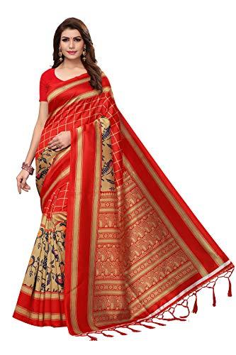 ETHNICMODE Indian Women's Art Silk Fabrics Multi-Colored Printed Sari with Blouse Piece (Fabric) SMRITI Red