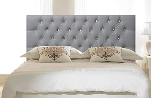 FAUX LEATHER 20' CHESTERFIELD HEADBOARD FOR DIVAN BED BASE (Silver, 5FT - KING SIZE)