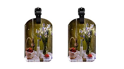 Colocación de la Mesa de Comedor Maleta de Etiqueta de Equipaje de Cuero de PU, Correa de Cuero Ajustable Resistente a los arañazos, diseño Elegante Paquete de 2