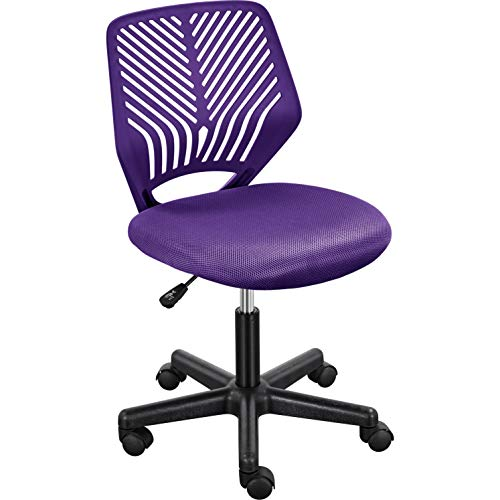 Topeakmart Armless Office Desk Chairs with Lumbar Support, Ergonomic Mesh Swivel Chair Purple