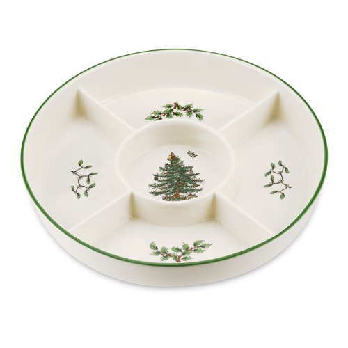 Spode Christmas Tree 5-Section Hors D'oeuvres Low Platter