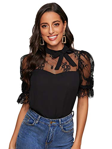 DIDK Damen T-Shirt Rüschen Bluse mit Spitzen Knoten Schleife Vorn Knöpfe Oberteile Taille Tops Modell #2 Schwarz XL